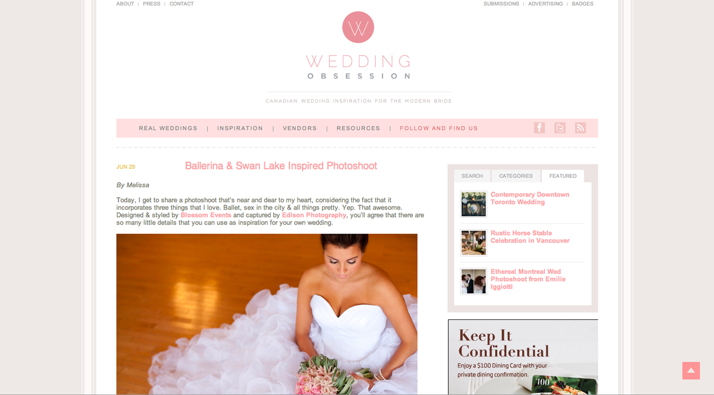 Ballerina inspired photoshoot featured on Wedding Obsession