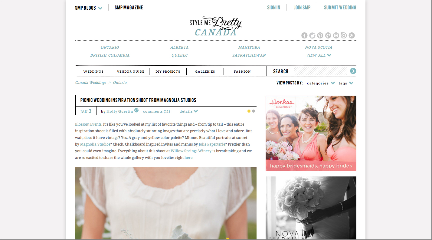 Picnic wedding inspiration was featured on Style Me Pretty Canada