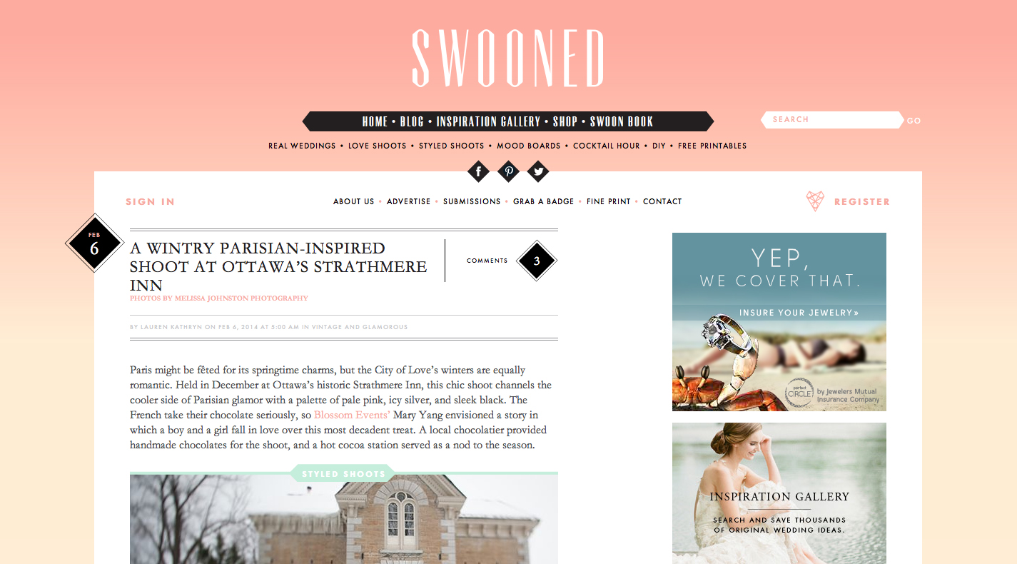 Parisian-chic styled shoot featured on Swooned