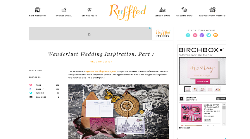 Wanderlust Wedding Inspiration Featured in Ruffled.