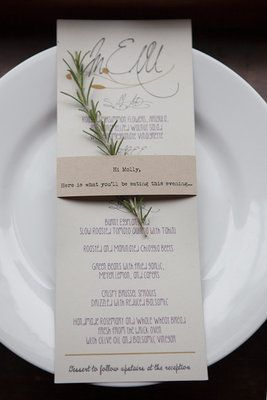 Rustic wedding menu with spring of rosemary - project wedding